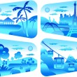 Travel in blue — Stock Vector