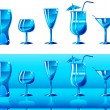 Royalty-Free Stock Vector Image: Set of glasses in blue