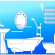 Bathroom in blue — Imagen vectorial