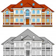 Drawing of country residence — Vector de stock #1343801