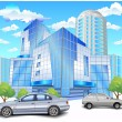 Building with parking — Vettoriali Stock