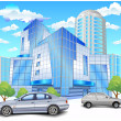 Building with parking - Stock Vector