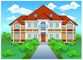 Private residence on hill — Stock Vector