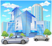 Building with parking — Vector de stock