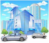 Edificio con estacionamiento — Vector de stock