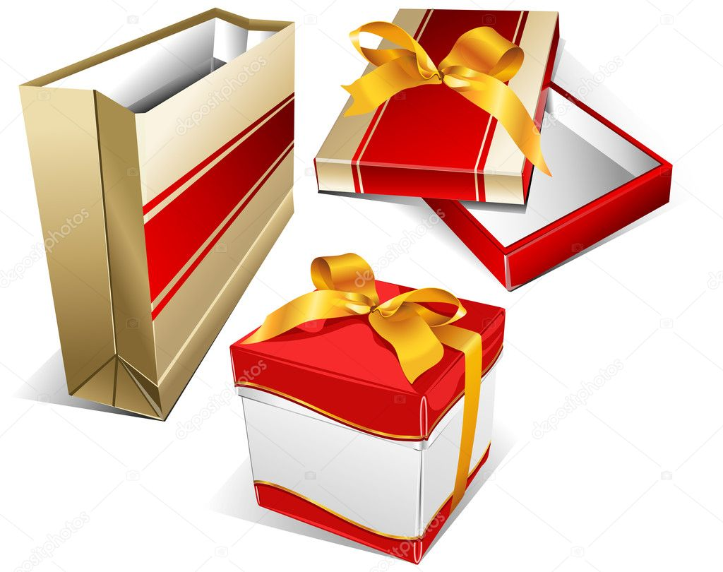 Package for meal, box for souvenirs, packing box for clothes, shopping illustration  Stock Vector #1349464