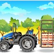 Vector de stock : Tractor on field