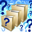 Packages with question — Stock Vector