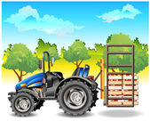 Tractor on field — Stockvector