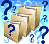 Packages with question — Stockvector