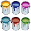 Stock Vector: Tins with paint