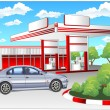 Stock Vector: Red refuel station, BMW