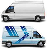 Minibus in blue — Stock Vector