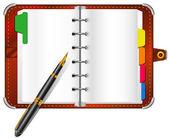 Organizer and pen — Stock Vector