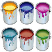 Tins with paint — Stock Vector