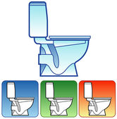 Toilet bowl on color background — Stock Vector