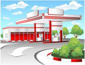 Estación de repostaje rojo — Vector de stock