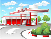 Red refuel station — Stock Vector