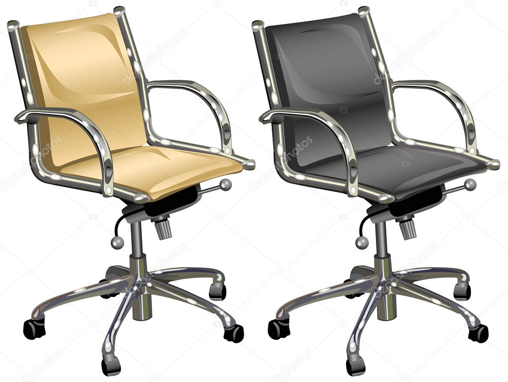 Leather armchairs for chief and boss on white background, illustration — Stock Vector #1379678