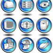 Icons in blue — Stock Vector