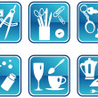 Icons in blue - Stock Vector