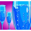 Stock vektor: Champagne glass on red