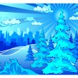 Winter park in city — Stock Vector