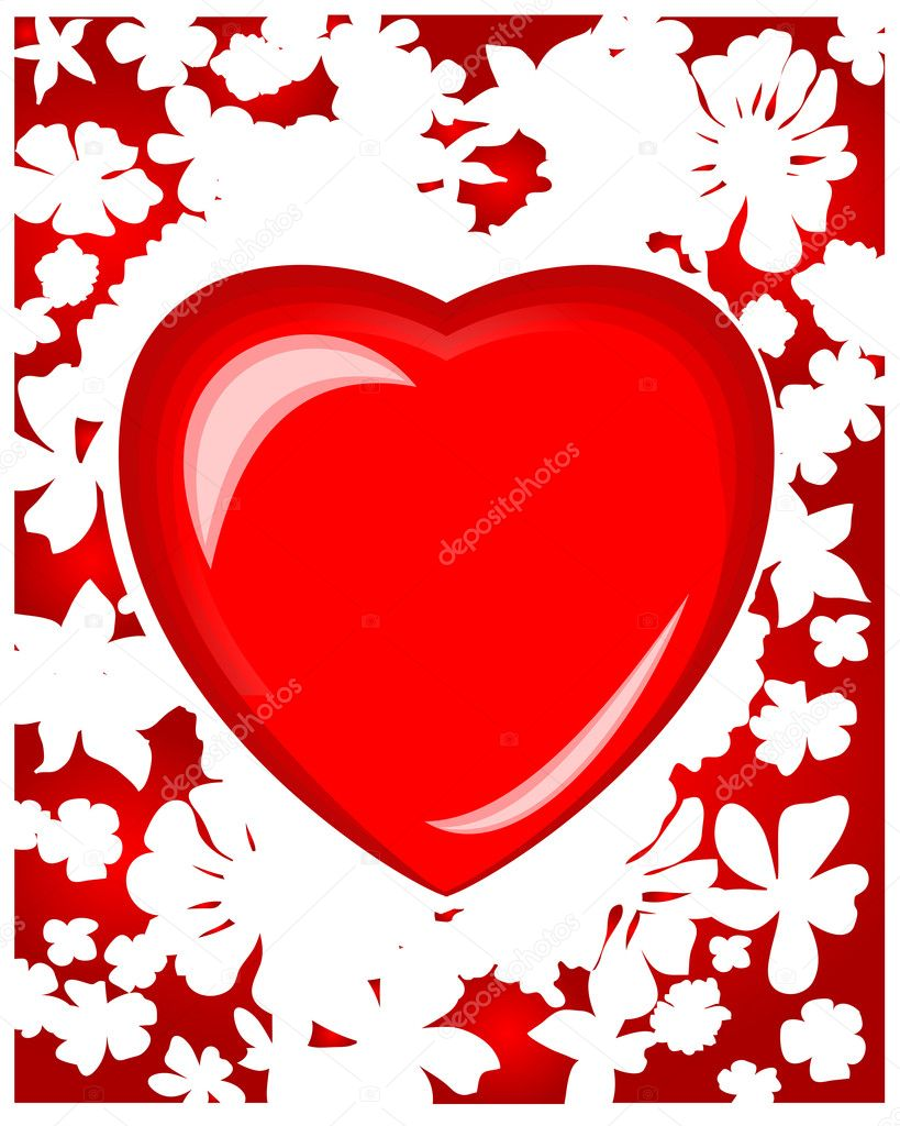 Creative illustration greeting background with heart, love conception — Stock Vector #1445585
