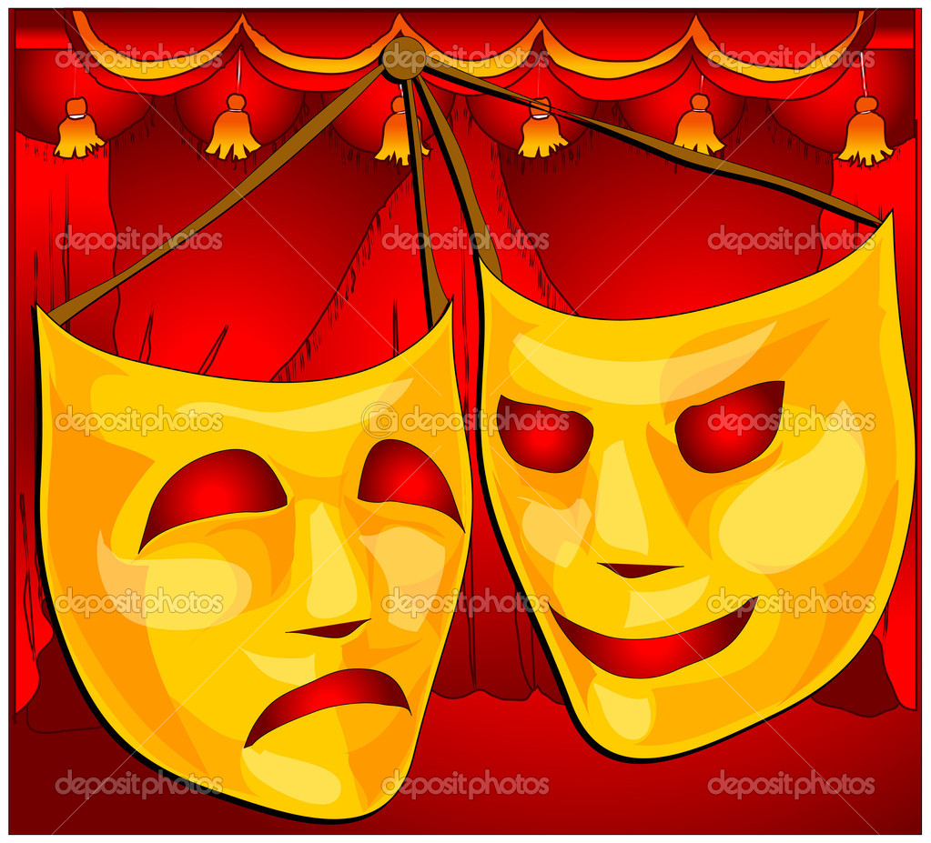 Classic comedy-tragedy theatre masks against red curtain fabric  Stock Vector #1445652