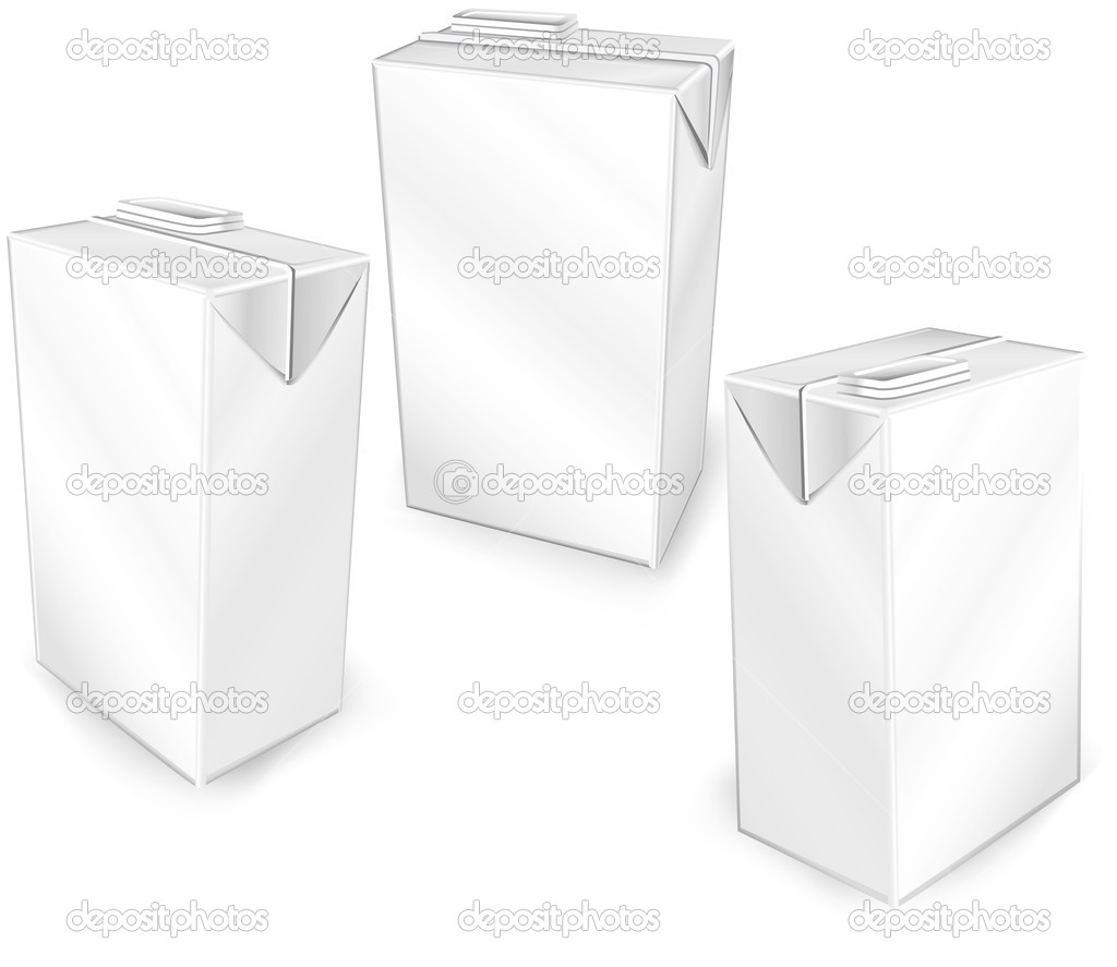 Milk or juice carton packages isolated on a white background, vector illustration — Stock Vector #1447267