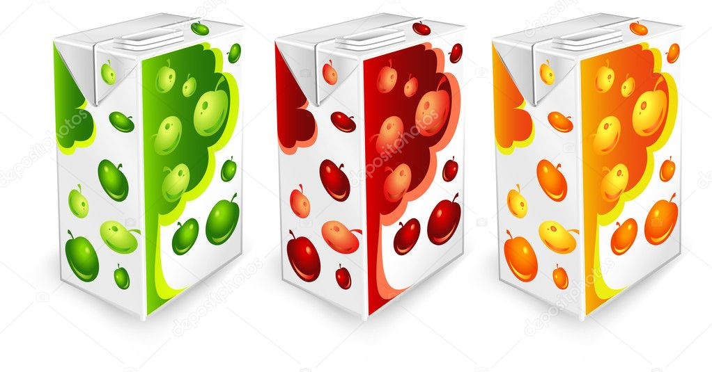 Juice carton packages with apple drawing on white background, vector illustration  Stock Vector #1447272