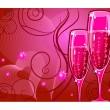 Champagne glass on red — Vector de stock