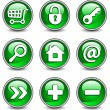 Icons in green — Stock Vector