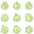 Environmental icons in green - Stock Vector