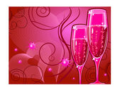 Champagne glass on red — Stock Vector