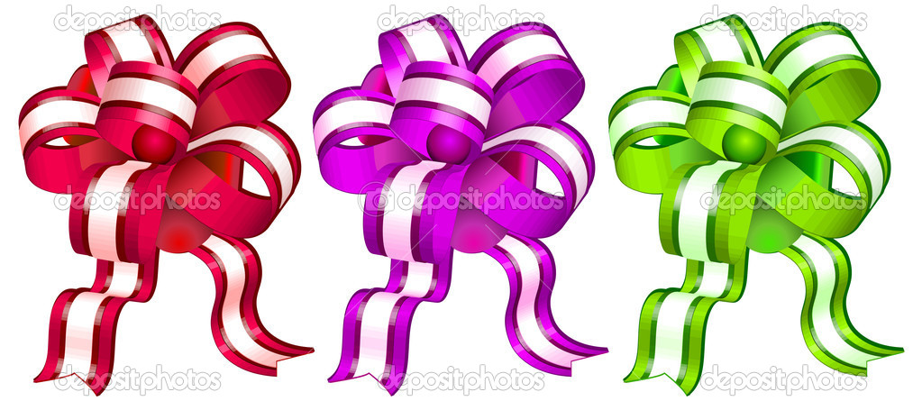 Different color bows on white background, gift tape, isolated object, vector illustration — Stock Vector #1450386
