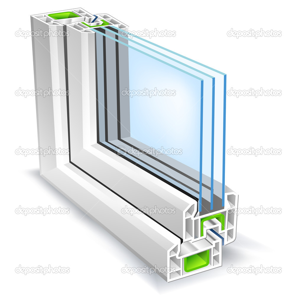 Window profile with tree glass surface, vector illustration — Imagen vectorial #1452043