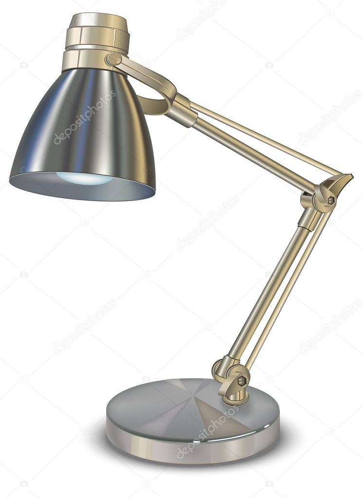 Metallic desk lamp, isolated object on white background — Stock Vector #1453386