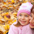 Mother and daughter in a park — Foto Stock