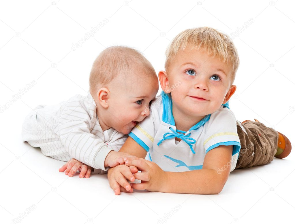 Two brothers. Isolated on the white background — Stock Photo #1238859