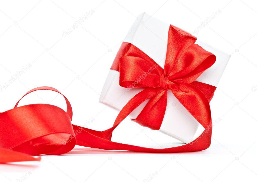 在礼物上的红丝带.在白色背景上孤立– 图库图片