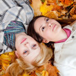 Two girls in leaves — Stock Photo