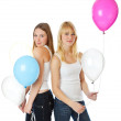 Jumping girl with ballons — Stock Photo #1284382