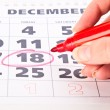 Red circle marked on a calendar — Stock Photo #1288267