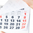 Close up of calendar in hands — Stock Photo