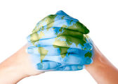 Map of world painted on hands — Stock Photo
