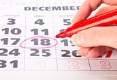 Red circle marked on a calendar — Stock Photo