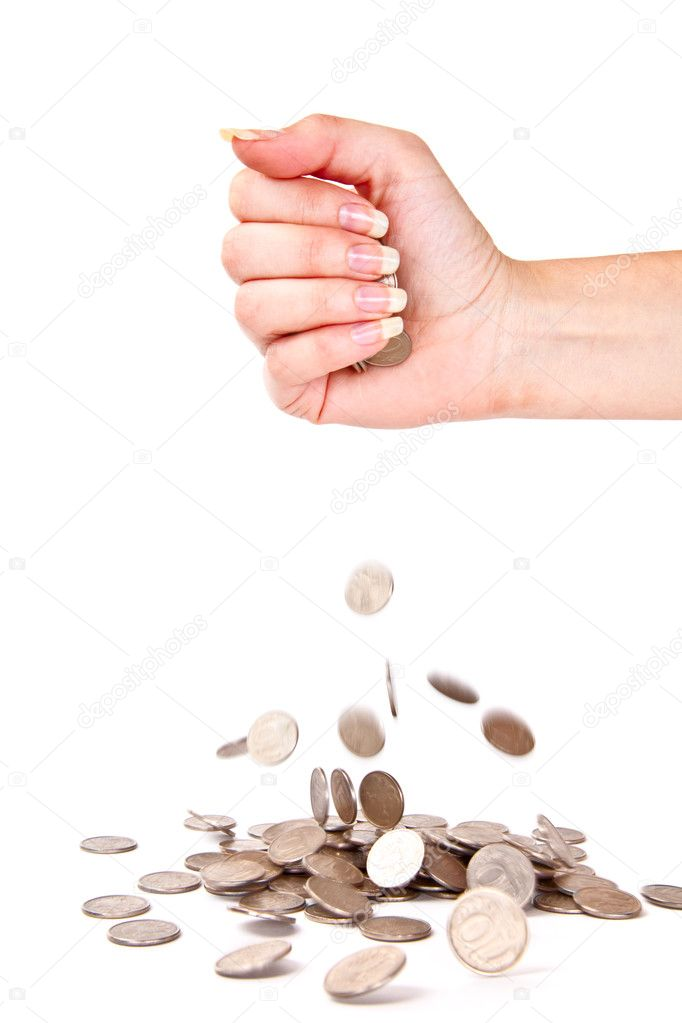 Hand and coins are failing down. Isolated on white background — Stock Photo #1288750