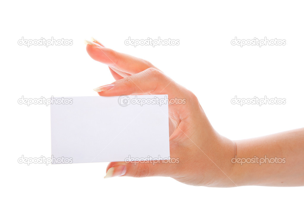 Hand holding a blank business card. Isolated on white background — Photo #1289032