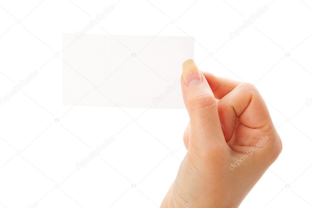 Hand holding a blank business card. Isolated on white background — Stock Photo #1289049